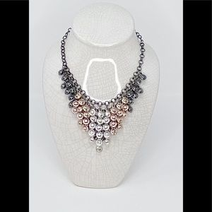 Steve Madden Faceted Bead Bib Necklace Tri-Tone